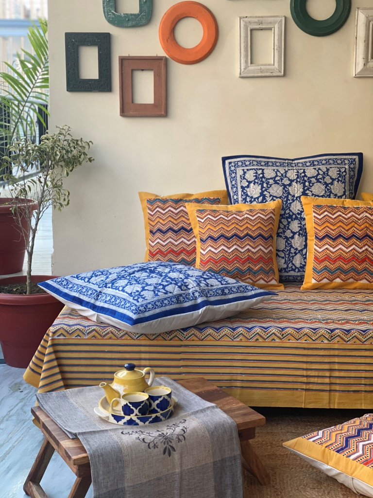 MULTICOLORED Block Print Single Bedsheet