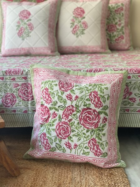 GREEN & PINK  Block Print Cotton Quilted Cushion Cover 16x16