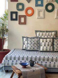 WHITE & BLUE-GREY Block Print Single Bedsheet
