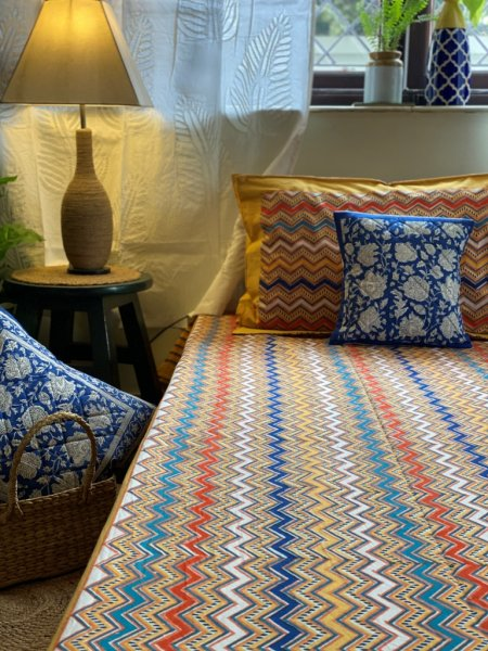 MULTI-COLOUR COTTON BLOCK PRINT KING  BEDSHEET