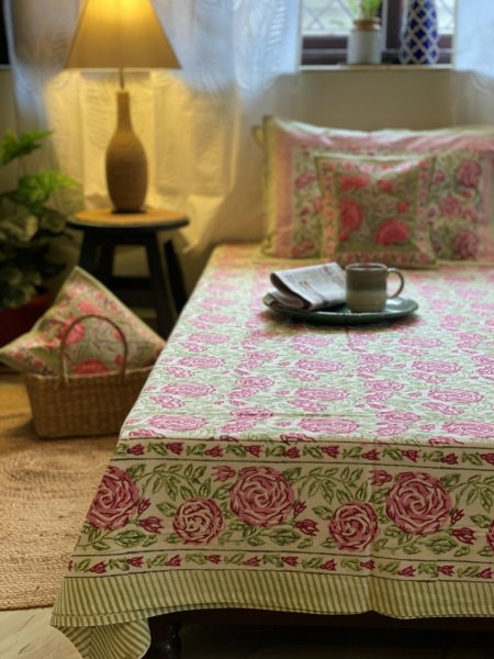 PINK & LIME GREEN COTTON BLOCK PRINT DOUBLE BEDSHEET
