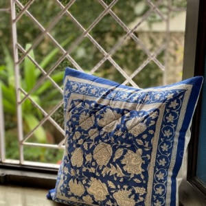 BLUE & WHITE Block Print Cotton Quilted Cushion Cover 16x16