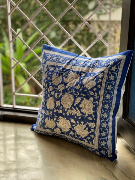 BLUE & WHITE Block Print Cotton Quilted Cushion Cover 12 X 12
