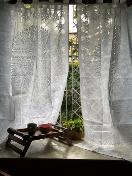 WHITE Cotton Organdy Applique Window Curtain (7 Ft)