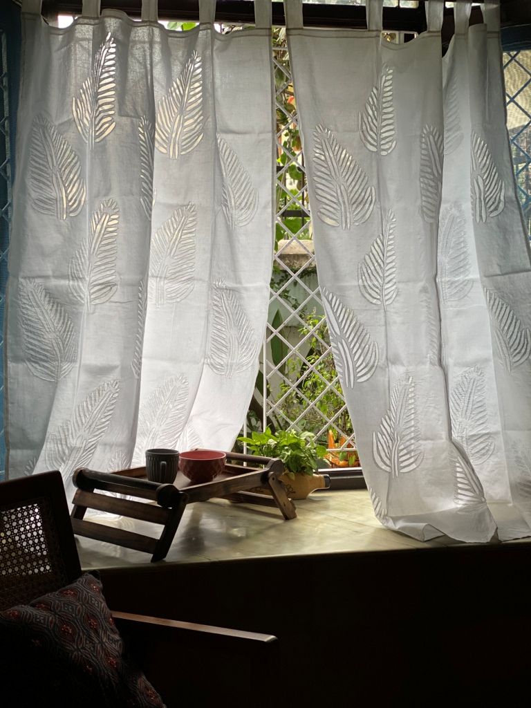 WHITE Cotton Organdy Applique Curtain (7 Ft)