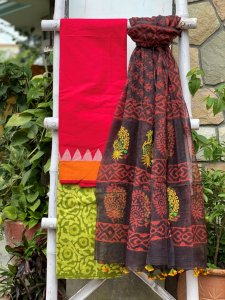 RED AND GREEN BLOCK PRINT  COTTON EMBROIDERED KOTA DUPATTA SET
