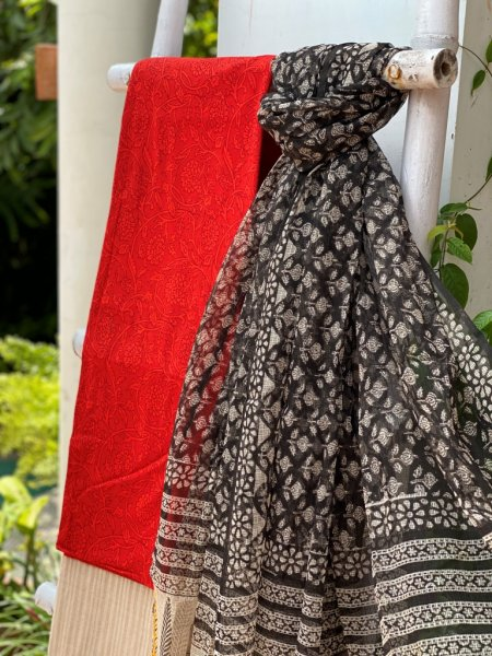 RED  AND BEIGE BLOCK PRINT COTTON EMBROIDERED KOTA DUPATTA SET