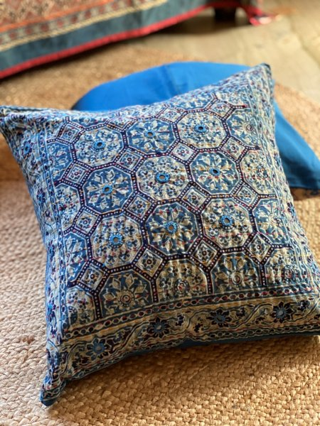 Indigo ajrakh block print hand embroidered Cotton Cushion Cover 16 X16