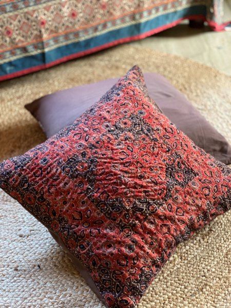 maroon-brown patch  kantha stitch Cotton Cushion Cover 16 X1 6