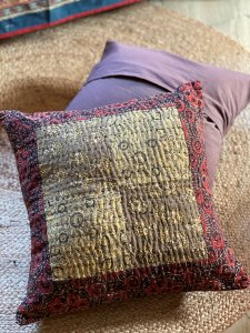 maroon-beige patch kantha stitched Cotton Cushion Cover 16 X1 6