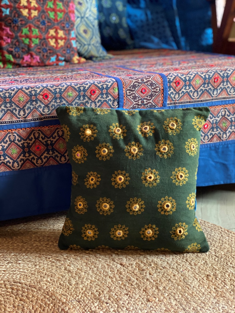 Bottle green block print hand Embroidered Cotton Cushion Cover 12 X 12