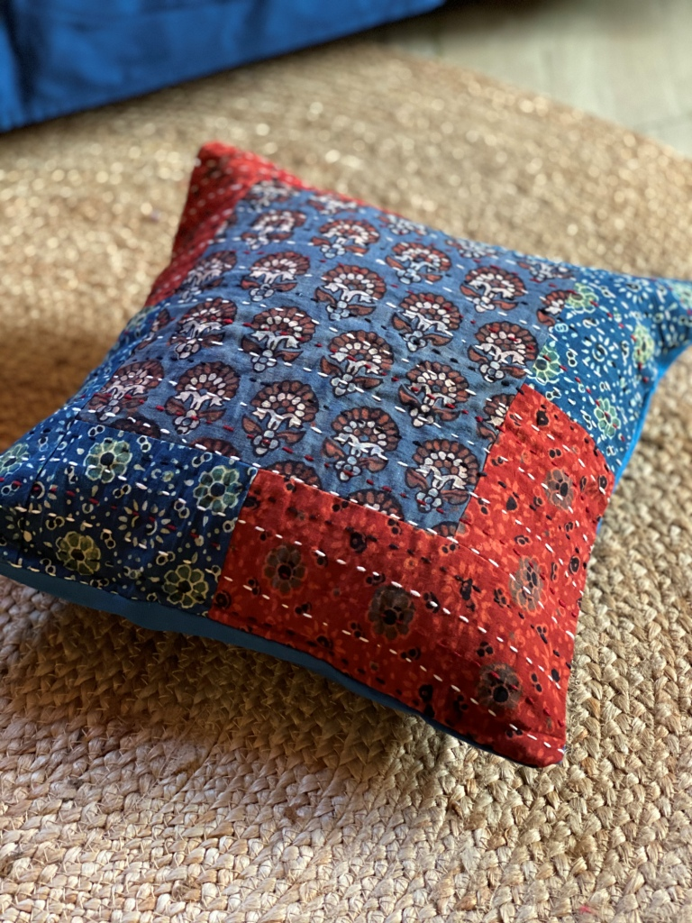 Indigo & red Ajrakh block print patch work kantha stitch Cotton Cushion Cover 12 X 12