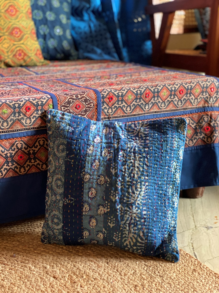 Indigo ajrakh block print patchwork kantha stitch Cotton Cushion Cover 12 X 12