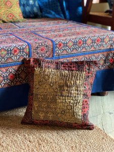 Brown & maroon ajrakh block print patchwork kantha stitch Cotton Cushion Cover 12 X 12