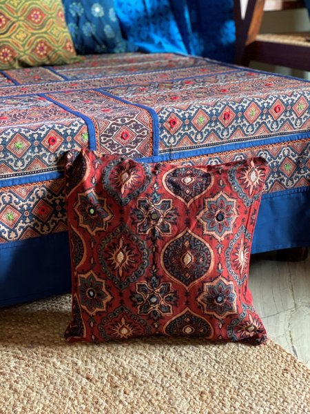 Rust & indigo ajrakh block print hand embroidered Cotton Cushion Cover 12 X 12