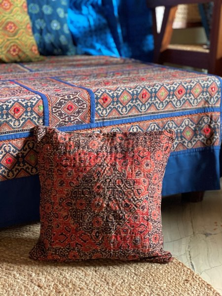 Rust and brown ajrakh block print patchwork kantha stitch Cotton Cushion Cover 12 X 12