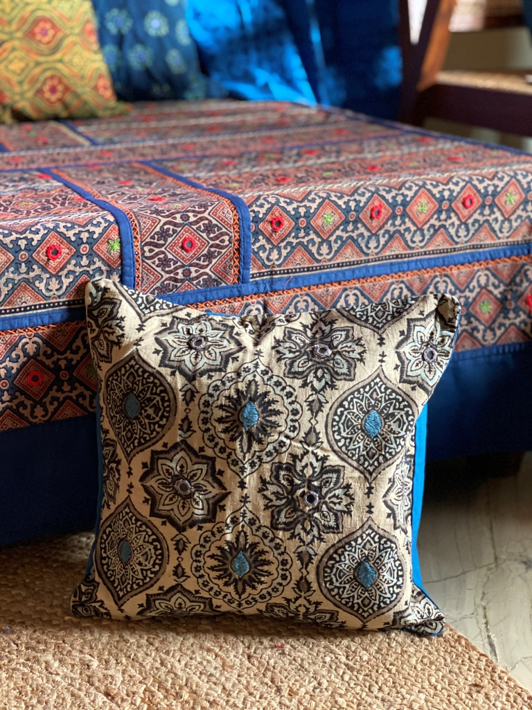 Beige & indigo ajrakh block print hand embroidered Cotton Cushion Cover 12 X 12