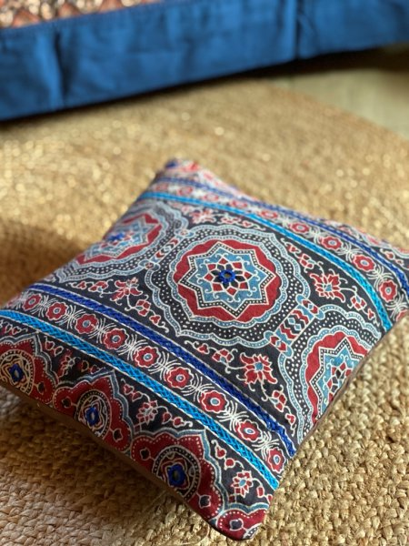 Indigo & red ajrakh block print hand embroidered Cotton Cushion Cover 12 X 12