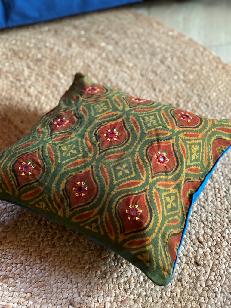 Green & Rust ajrakh block print hand embroidered Cotton Cushion Cover 12 X 12