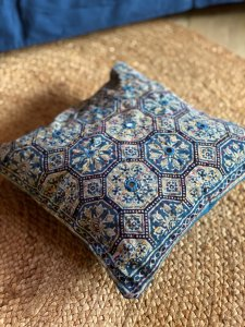 Indigo ajrakh block print hand embroidered Cotton Cushion Cover 12 X 12