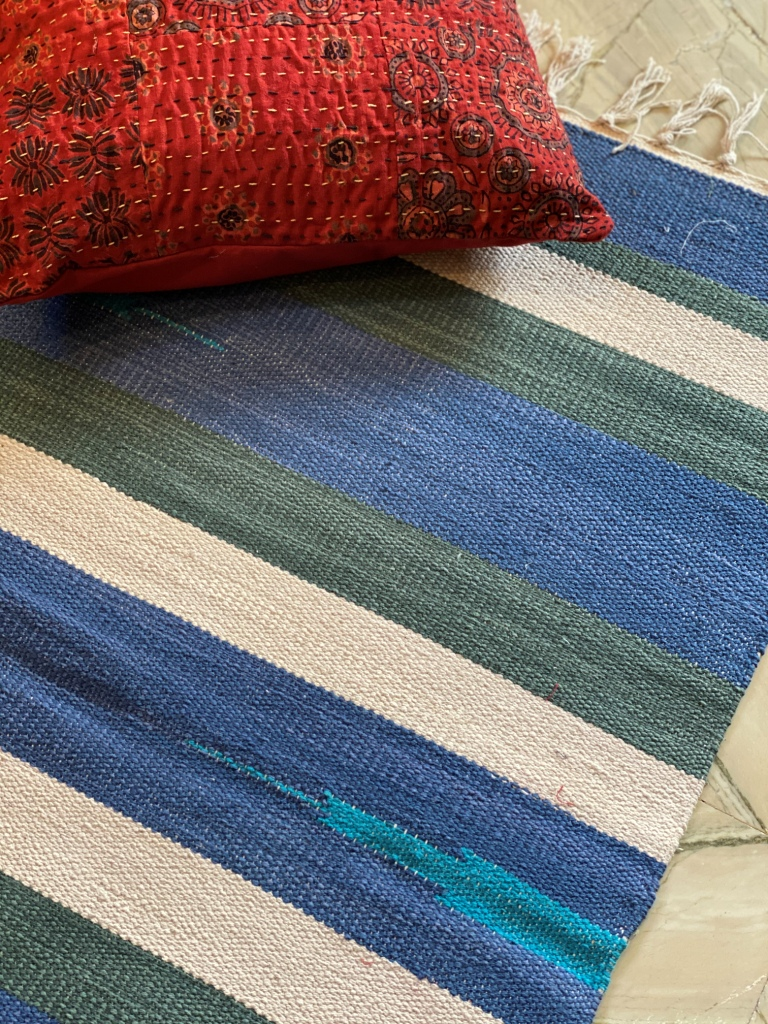 blue & green HAND Woven Cotton Durrie 3 X 2 Ft