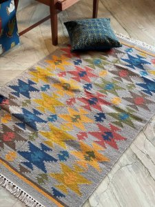 GREY & MULTI COLOR WOOL & JUTE HAND WOVEN KILIM Durrie 5 X 3 FT
