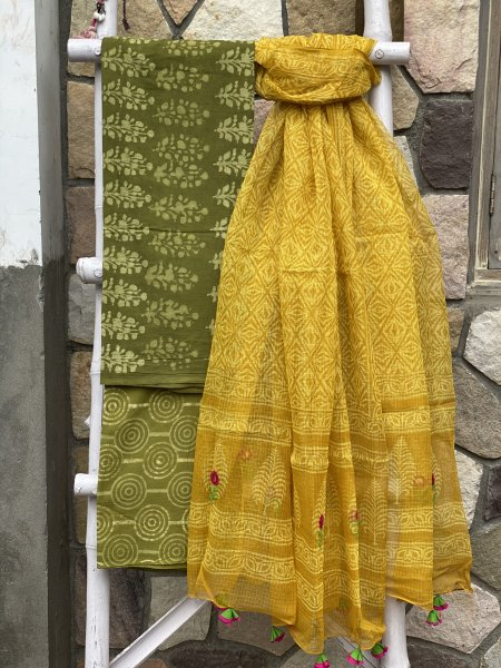 LIME GREEN COTTON HAND EMBROIDERED KOTA DUPATTA SET