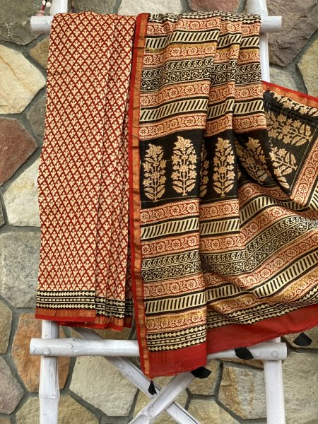 BEIGE BAGH BLOCK PRINT CHANDERI SILK COTTON SARI