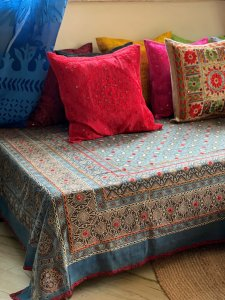 Indigo Multi Hand Mirror Embroidered Ajrakh Block Print Single Bedcover
