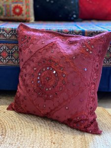 MAROON Kutch Mirror Embroidered Cotton Cushion Cover 16 X1 6