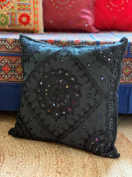 BLACK Kutch Mirror Embroidered Cotton Cushion Cover 16 X1 6