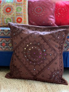 BROWN Kutch Mirror Embroidered Cotton Cushion Cover 16 X1 6