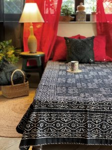 Black & white Block Print double layer kantha stitch Double Bedcover