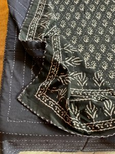 Black & white Block Print kantha Double Bedcover