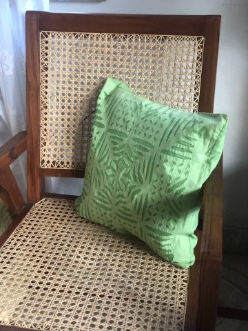 Lime Green Cutwork Applique Cotton Organdy Cushion Cover 16x16