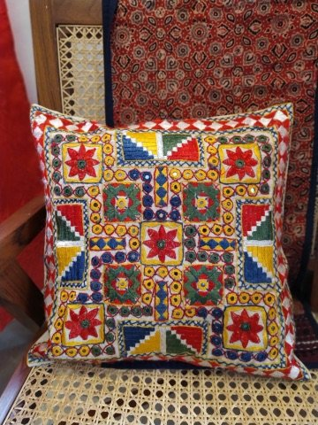 Multi Color Kutch Mirror Hand Embroidered Cushion Cover 16 X16