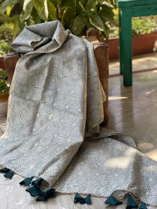 OFF WHITE & TEAL TUSSAR SILK KANTHA HAND EMBROIDERY DUPATTA