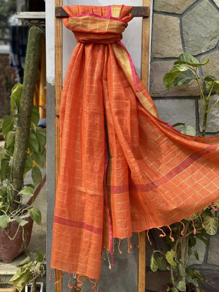 ORANGE ZARI CHEQUERED LINEN COTTON WOVEN DUPATTA