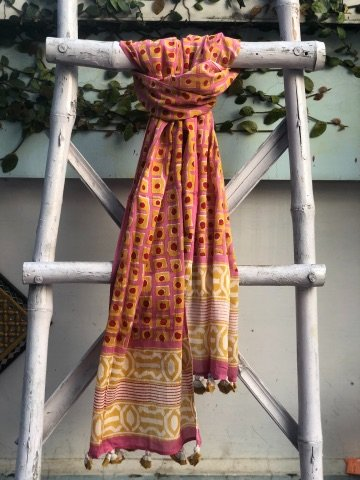 Pink & Yellow Cotton Mull Dabu Block Print Stole