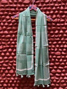 SEA GREEN MULL COTTON BLOCK PRINT STOLE