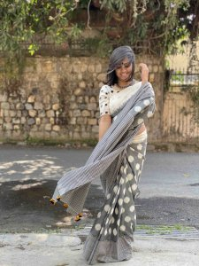 GREY & OFF WHITE POLKA DOTS  & CHEQUERED COTTON IKKAT WOVEN SARI