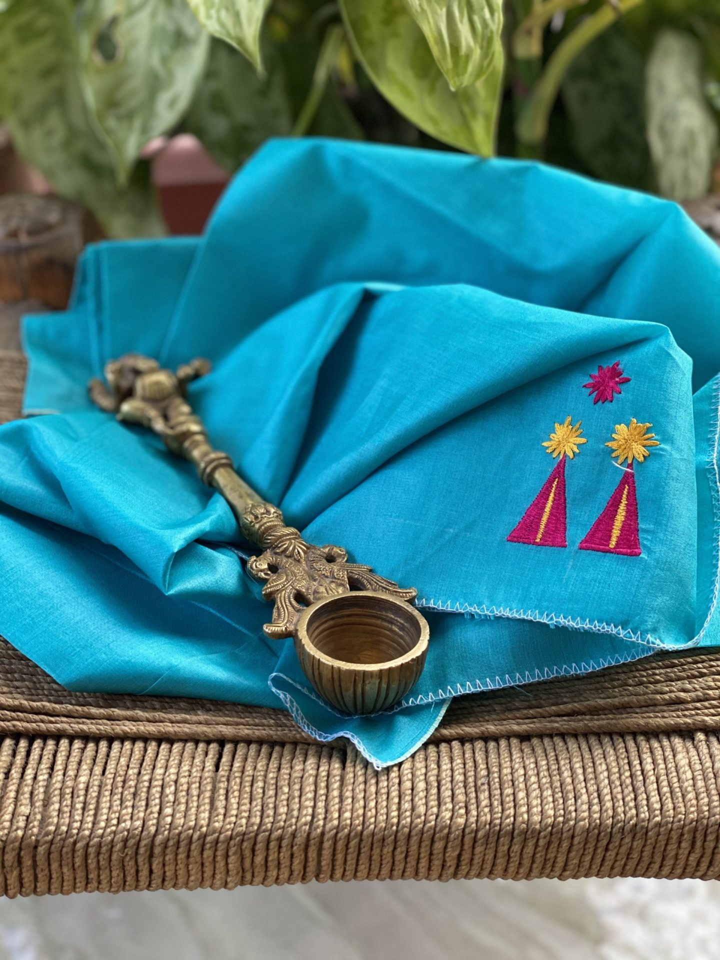 SKY BLUE TUSSAR SILK TRIBAL HAND EMBROIDERED BLOUSE