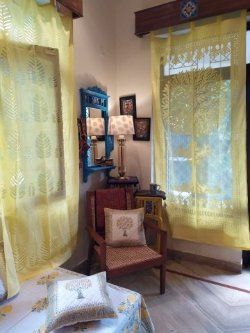 Yellow Cotton Organdy Applique Door Curtain (7 Ft)