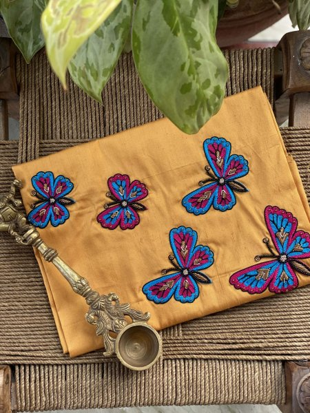 YELLOW RAW SILK BUTTERFLY HAND EMBROIDERED BLOUSE