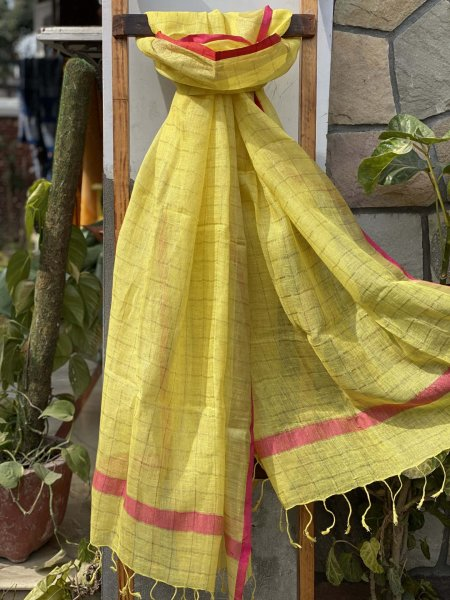 YELLOW ZARI CHEQUERED LINEN COTTON WOVEN DUPATTA